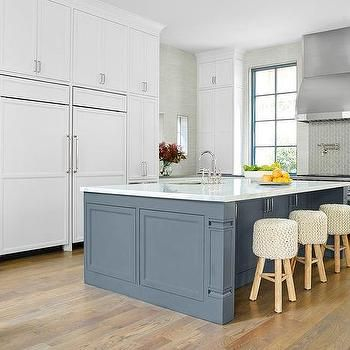 Best White And Gray Kitchen With Slate Blue Center Island 400 x 300