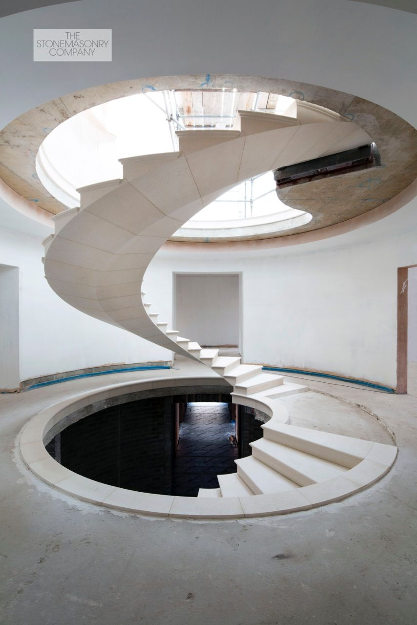 360 Deg Post Tensioned Stone Spiral Staircase