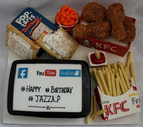 A Birthday Cake For A Teenager Who Likes Social Networking,KFC And Pop Tarts!! :-)