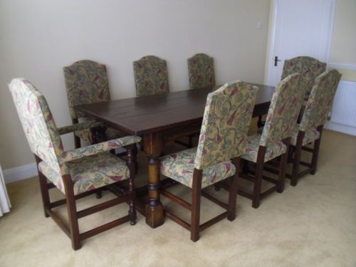 Ebay Dining Room Tables And Chairs Oak Antique Style Dining Set Refectory Table & 8 Chairs