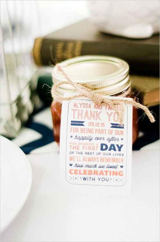 Jars of homemade Barbecue sauce are be wedding favors