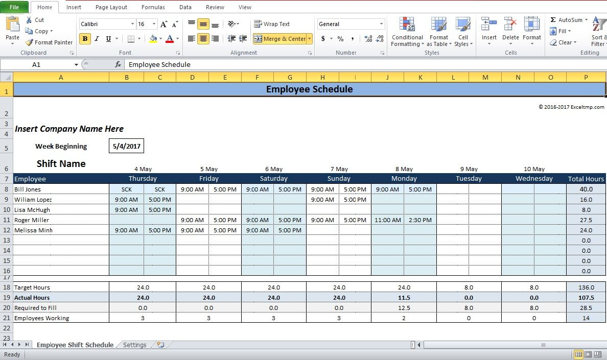 Employee shift schedule generator excel template company for 3 shift schedule template