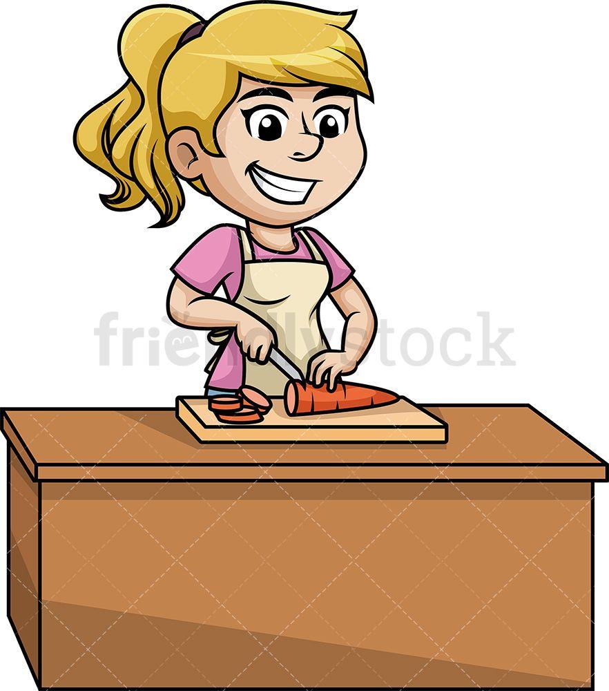 Woman Chopping Carrot Cartoon Clipart Vector Friendlystock Cartoon Clip Art Vegetable Illustration Clip Art