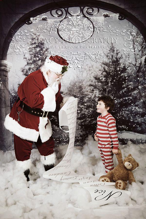 Santa portraits, Santa and boy, Pajamas, Holiday Card, Legacy ...