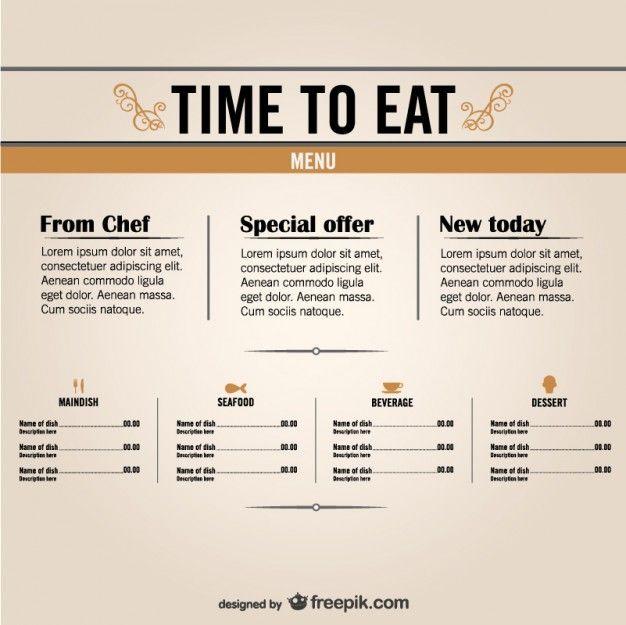 Free restaurant menu graphics   menu   Pinterest   Restaurante