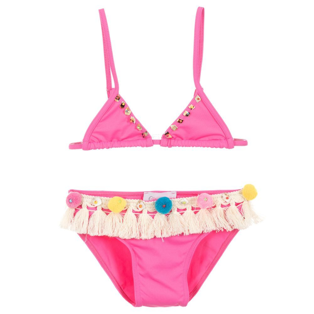 0b27d48a4f0dc Girls pink bikini from Selini Action, with handmade pom-poms and fringing.  Soft