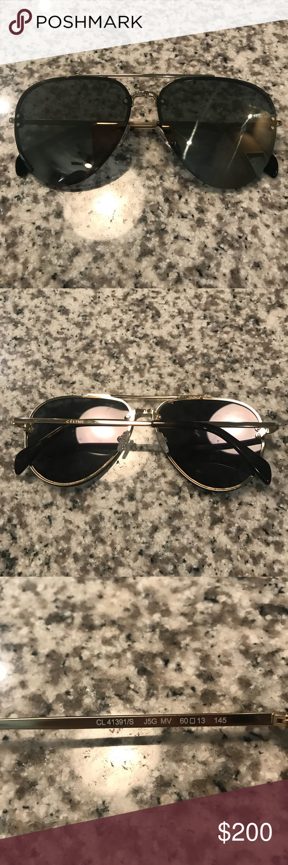 32a3e7cc3fbca Celine CL41391 S Gray Mirror Aviator Sunglasses NWT Never Worn- Celine CL  41391 S J5GSS Gold- Gold Flash Mirrored Lens Gold Frame Aviator Sunglasses  60mm ...