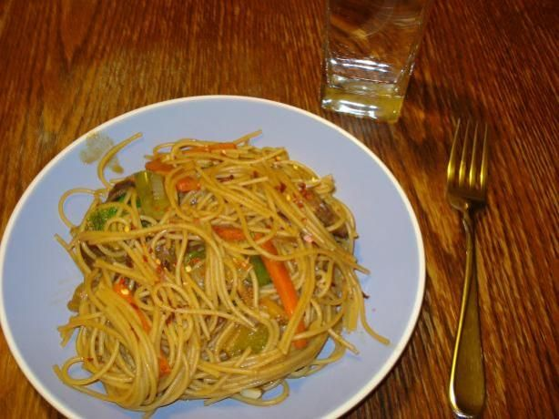 Spicy Thai Peanut Noodles .. original recipe is yummy but I make a few changes (asian rice noodles instead of spaghetti, double the peanut butter, half the cumin, no mushrooms).