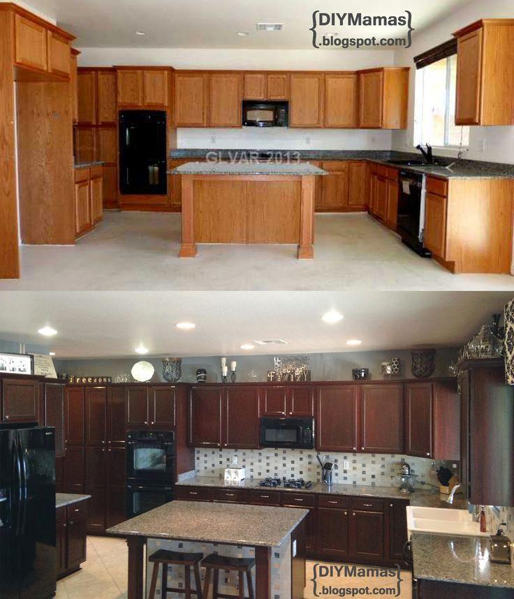 DIY Mamas: Kitchen Makeover!! Gel Stain, Backsplash, Hardware, Apron Sink & Tiled Floor! - http://www.homedecoz.com/home-decor/diy-mamas-kitchen-makeover-gel-stain-backsplash-hardware-apron-sink-tiled-floor/