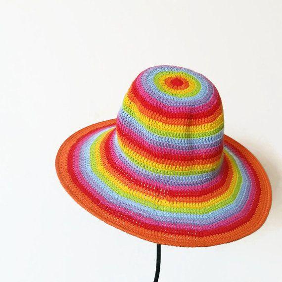 c6792406b4 Rainbow Crochet Floppy Hat. Women Cloche Wide Brim. by dodofit ...