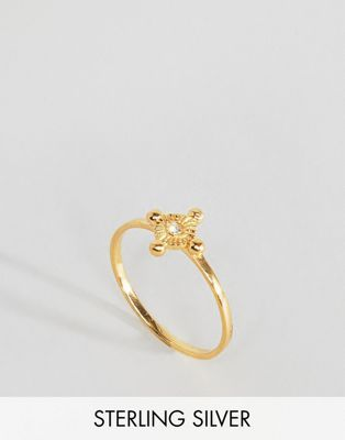 Gold Plated Sterling Silver Vintage Style Hand Tag Ring - Gold Asos 2018 Discount  Discount Best Sale wT6Eb