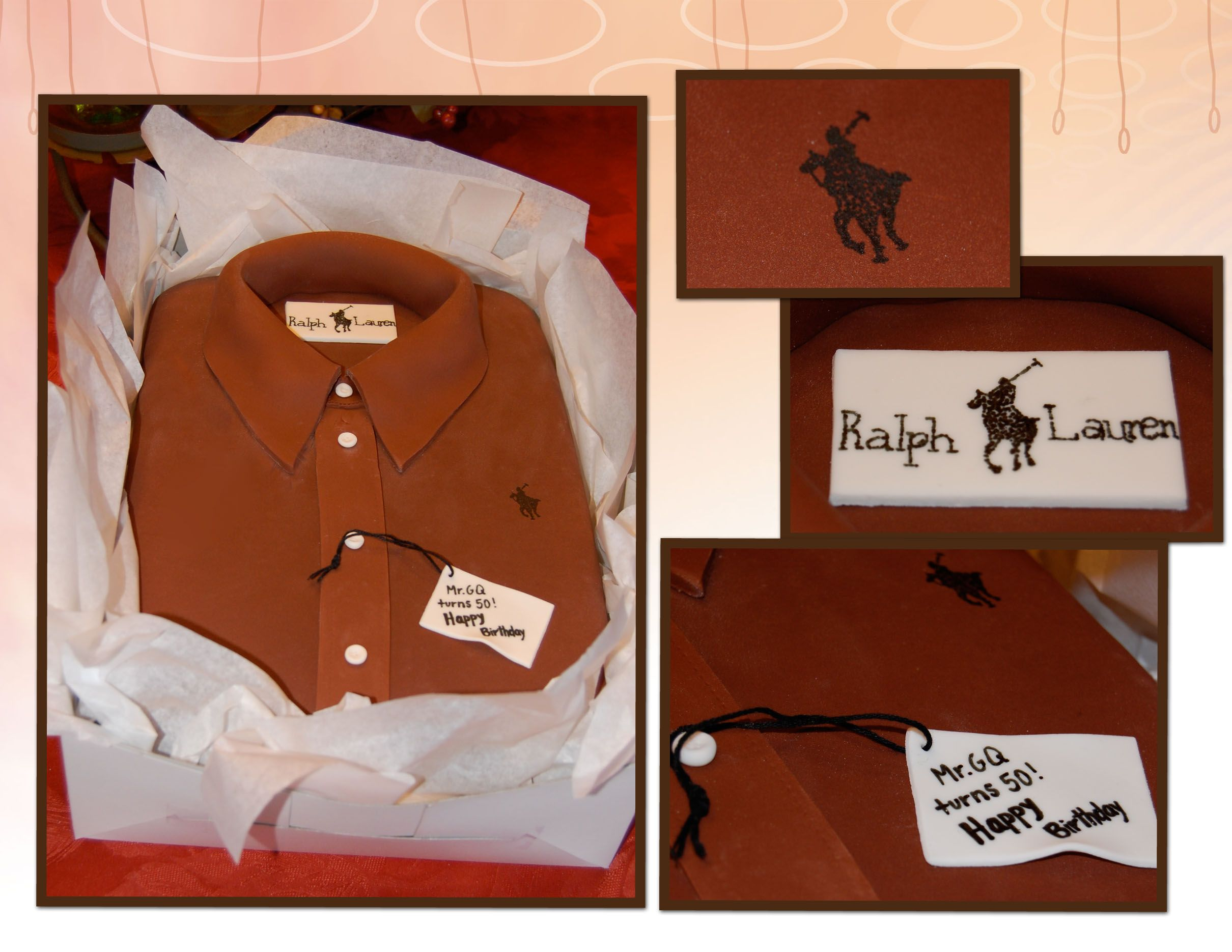 This cake was designed to look like a shirt :) Ralph Lauren cake by K Noelle Cakes