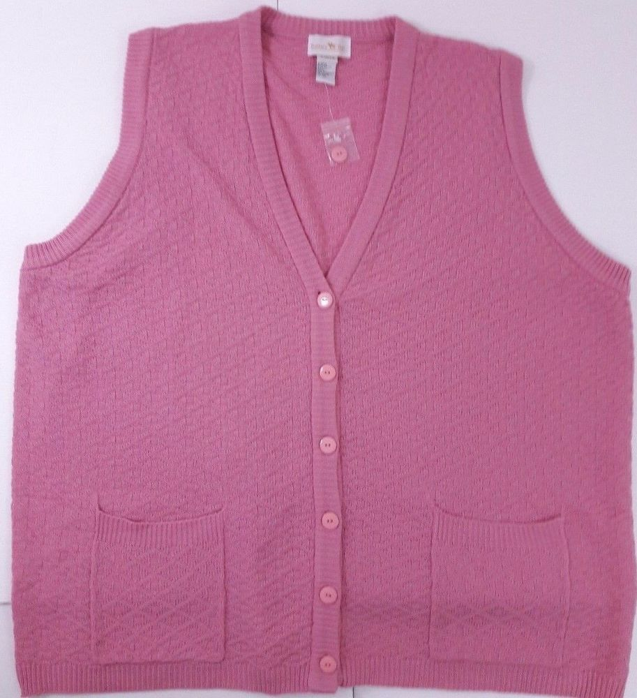HUNTERS RUN Women's Pink Button Front Knit Sweater Vest/Cover Up ...