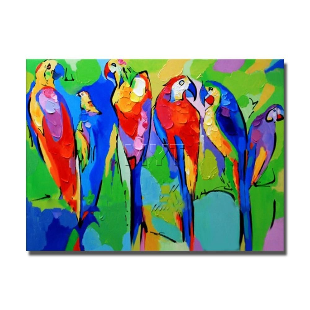 Unique Multi Color Hand Painted Modern Abstract Parrot Oil Painting On Canvas Top Quality Ilo Parrot Painting Oil Painting Inspiration Oil Painting On Canvas