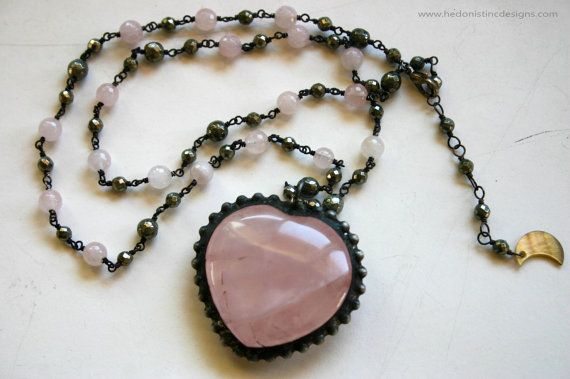 Rose Quartz Heart and Pyrite Statement Necklace // by HedonistINC