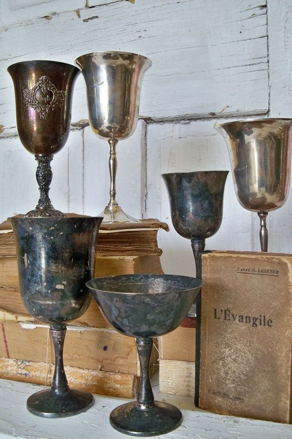Silver Plate Goblets Collection Of 6 Ornate Mix French