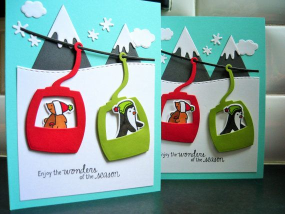 Handmade Holiday Cards Set of 2, Ski Cards, Mountain Cards, Hiker Cards, Woodland Friends