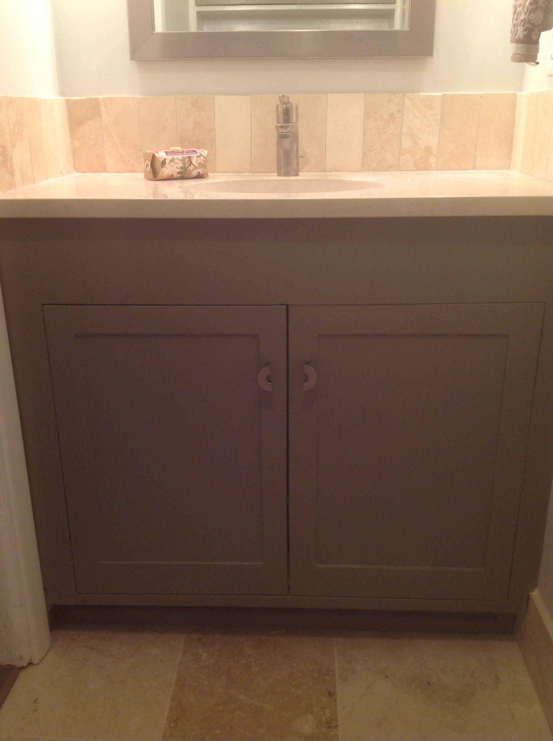 Paint color for both bathroom cabinets is Sherwin Williams Foothills ...