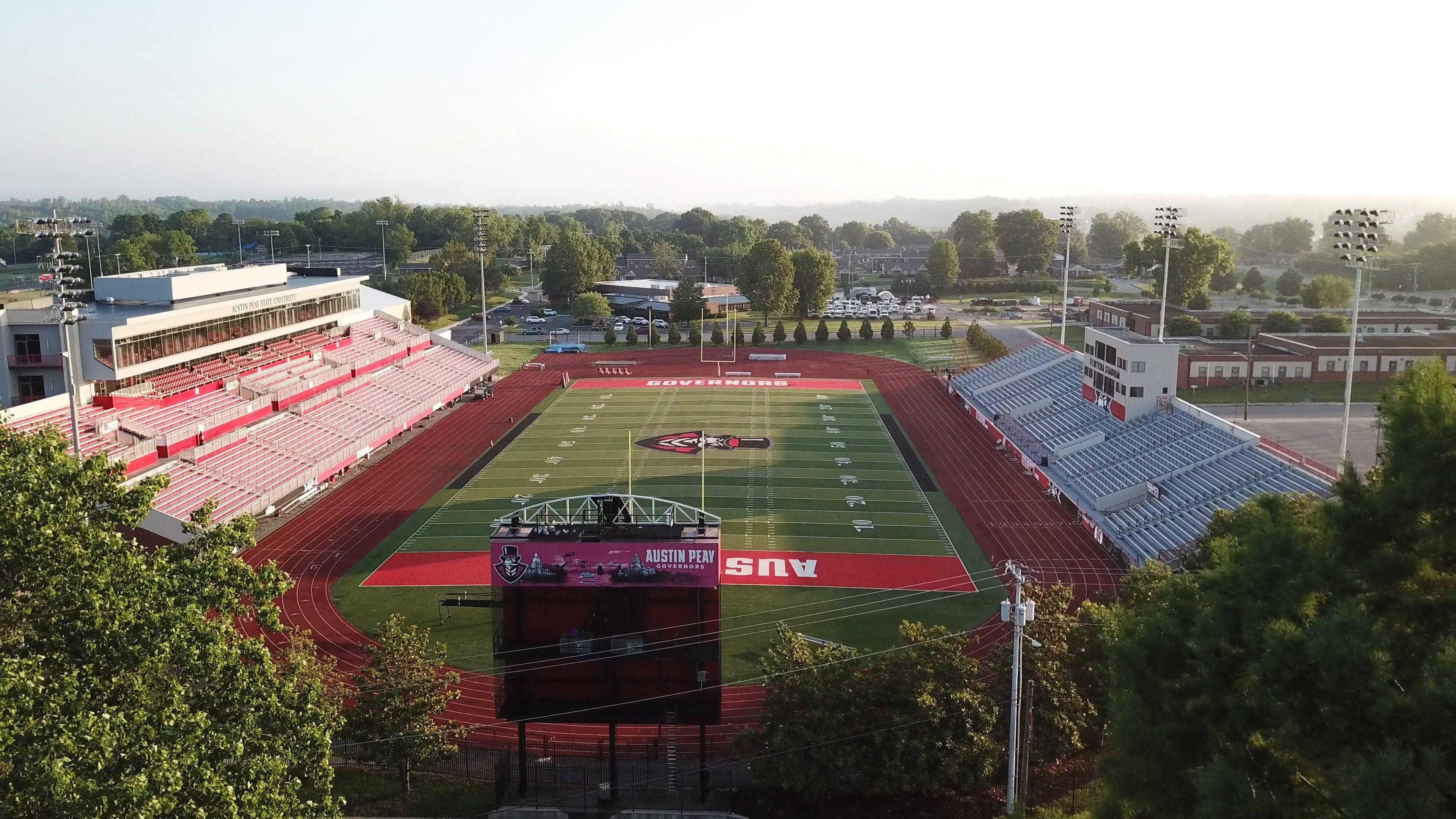 Austin peay state university football field 4k drone