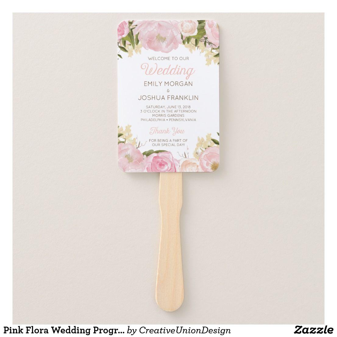 Creative clock background  Pink Flora Wedding Program Fan  Outdoor Wedding Ideas  Pinterest