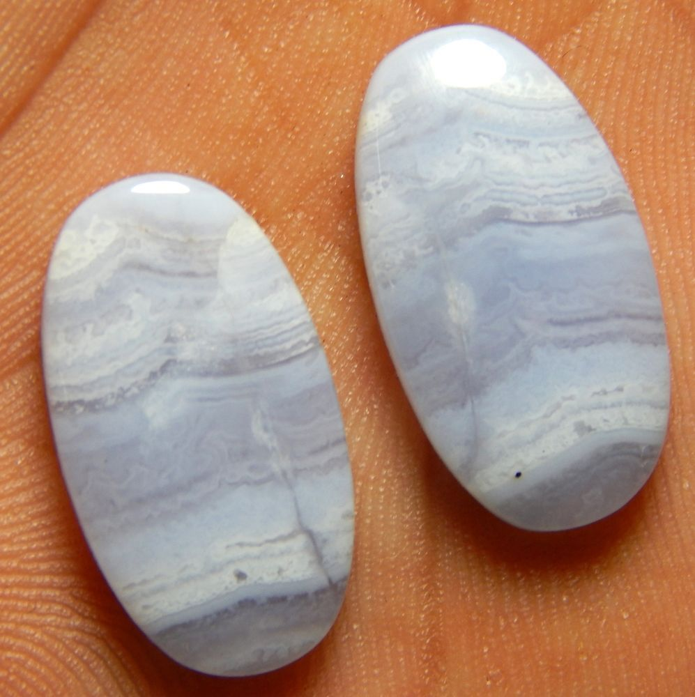 20.05 Cts Natural Blue Lace Agate 22X12 MM Oval Matching Pair Gemstone Cabochon