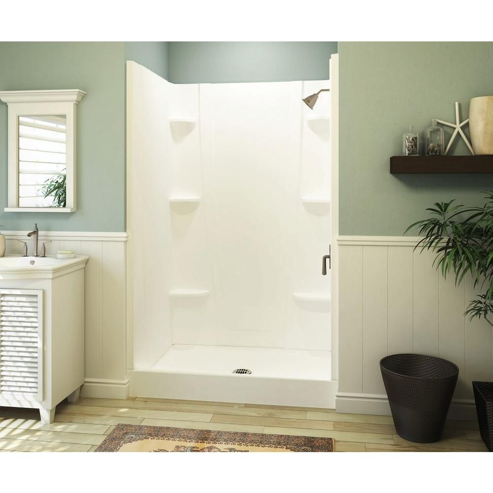 Aquatic A2 34 in. x 48 in. x 76 in. Shower Stall in White ...