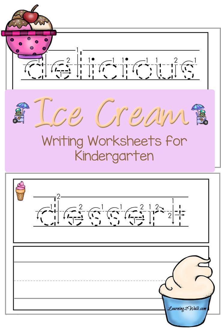 Ice Cream Writing Worksheets for Kindergarten
