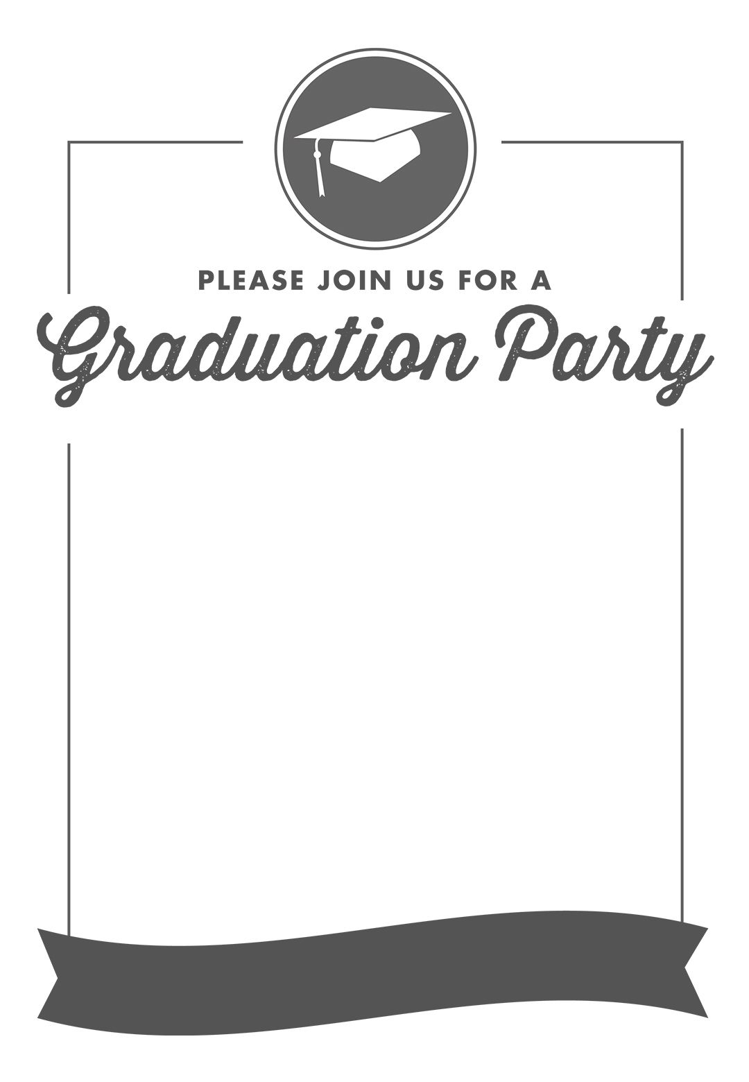 Ribbon Graduation - Free Printable Graduation Party Invitation ...