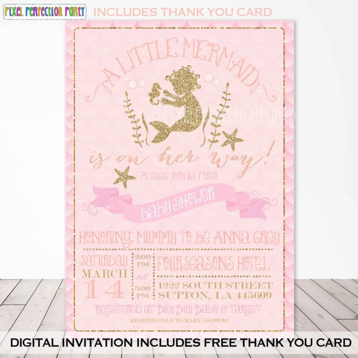 Little Mermaid Baby Shower Invitation Sea Themed Peach Gold Sparkle