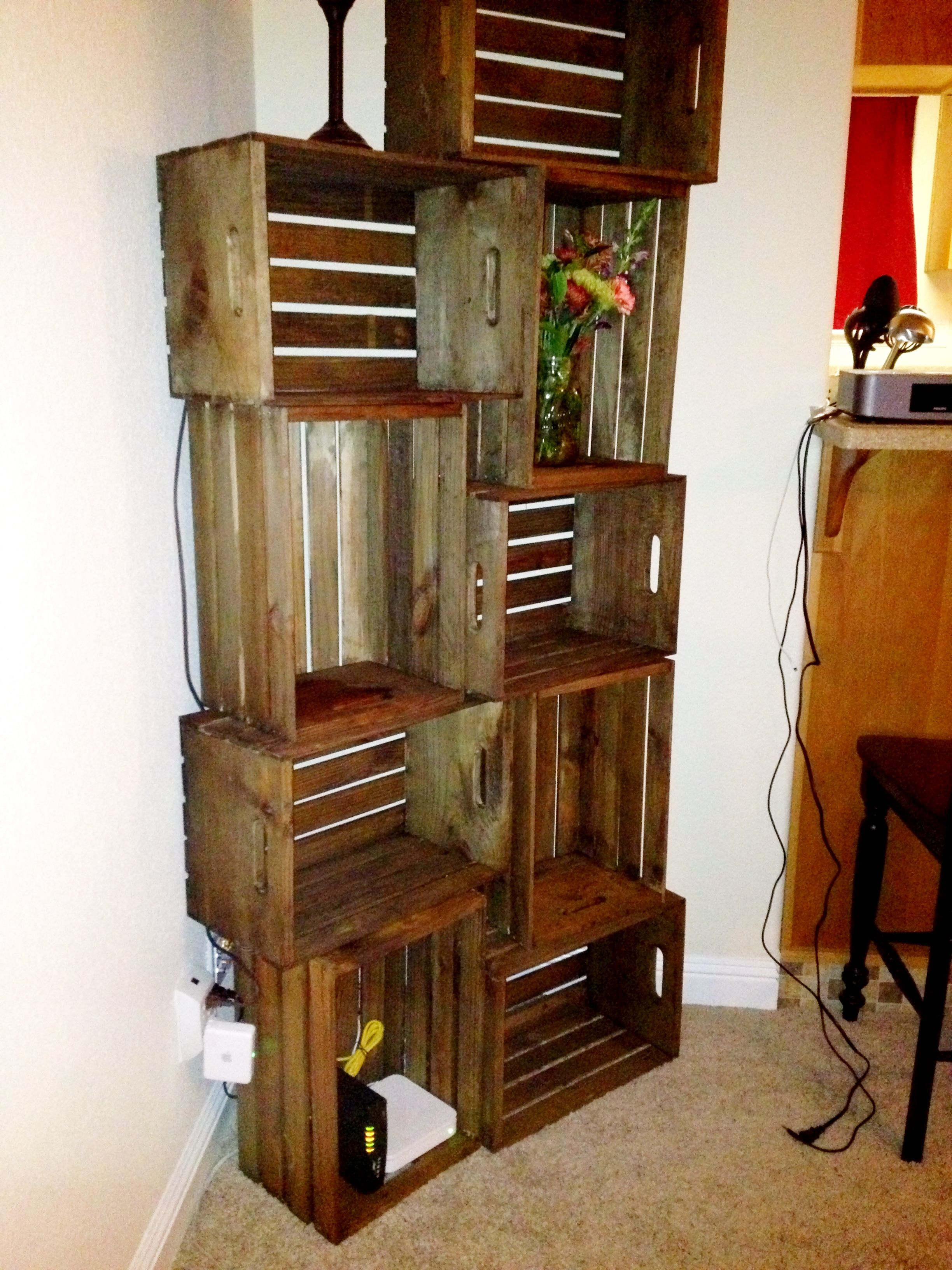 wooden crates as shelves milk crate shelving stained with vinegar and steel wool milk crate shelves crate shelves 6266