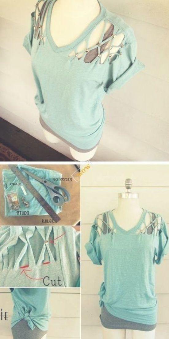 Chic T-shirt Refashion Ideas with DIY Tutorials-DIY No Sew Lattice, Stud T-shirt Refashion Tutorial #nosewshirts