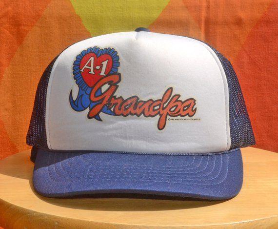 80s vintage foam trucker mesh hat GRANDPA a 1 navy blue snapback baseball  cap rockstar a73b7c0527c7