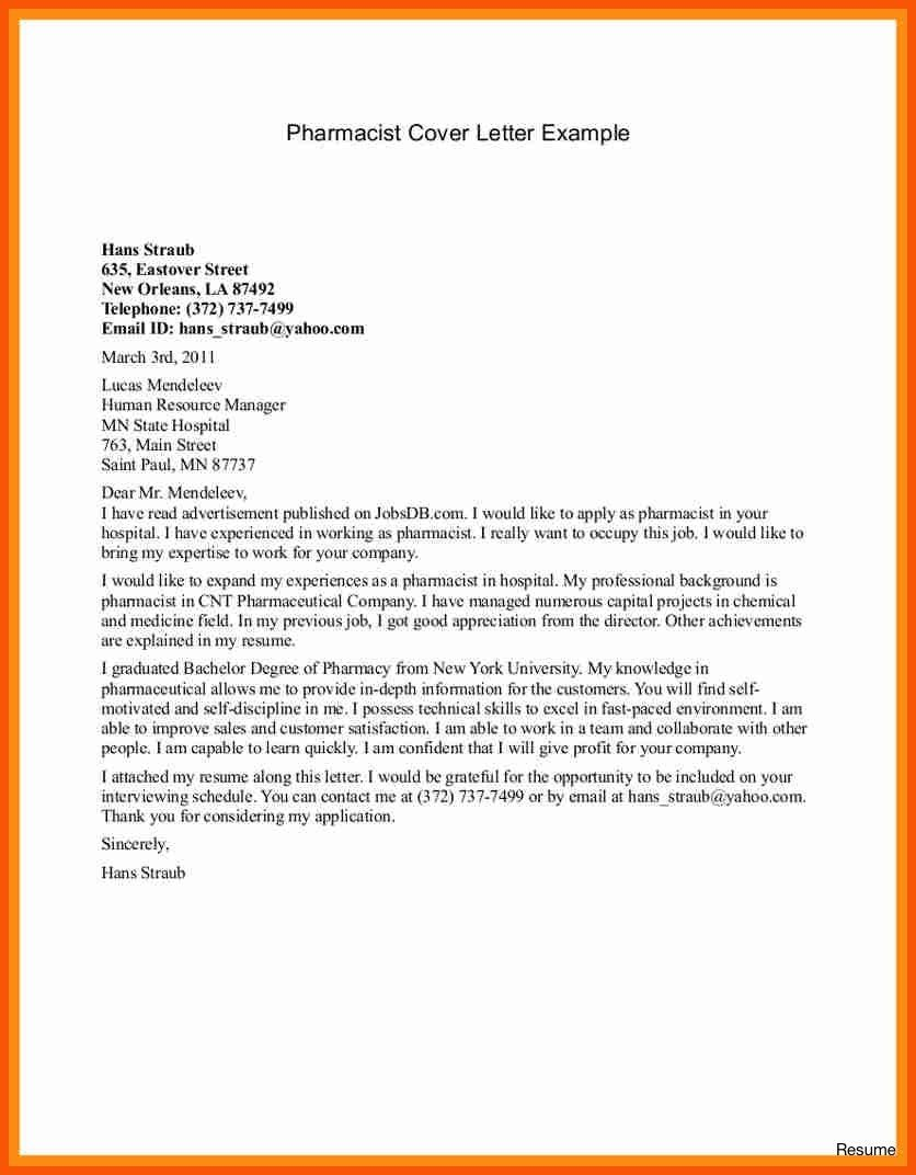 27 Pharmacist Cover Letter Writing A Cover Letter Resume Cover
