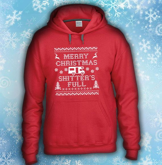 Shitter Full Funny Christmas Hooded Sweater by CoolFunnyTshirts