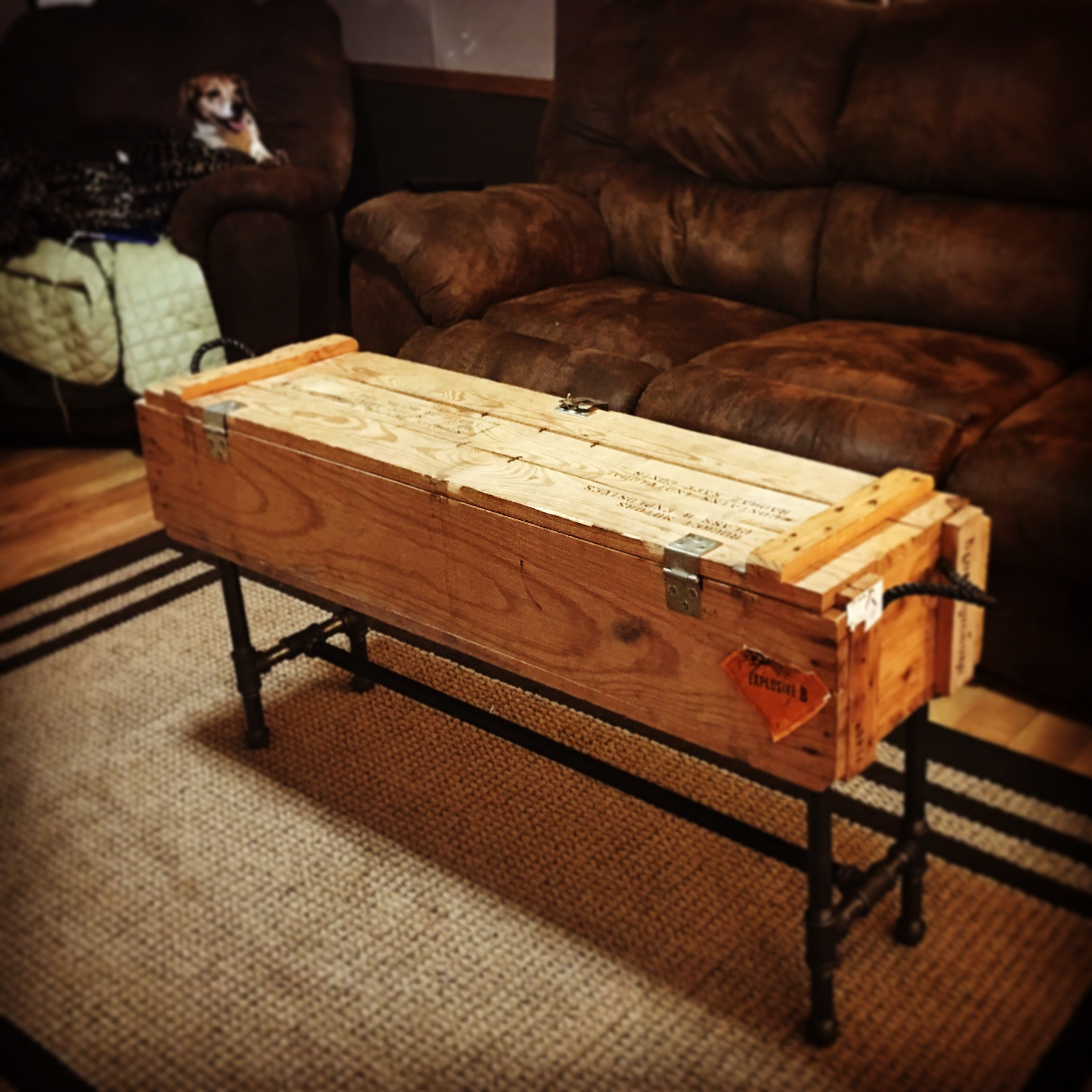mrscaroleann Ammo box coffee table with legs made from plumbing