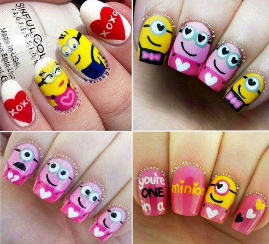 Valentines Day Minion Nail Art