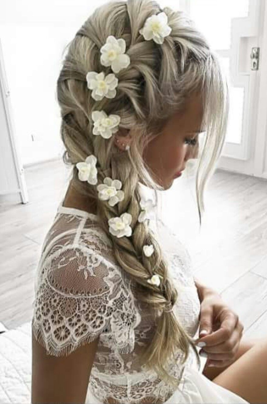 Side French Braid With Flowers Wedding Hairstyles Hair Inspiration Braided Hairstyles
