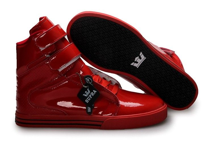Mens Supra TK Society Red Patent Leather Skate Shoes