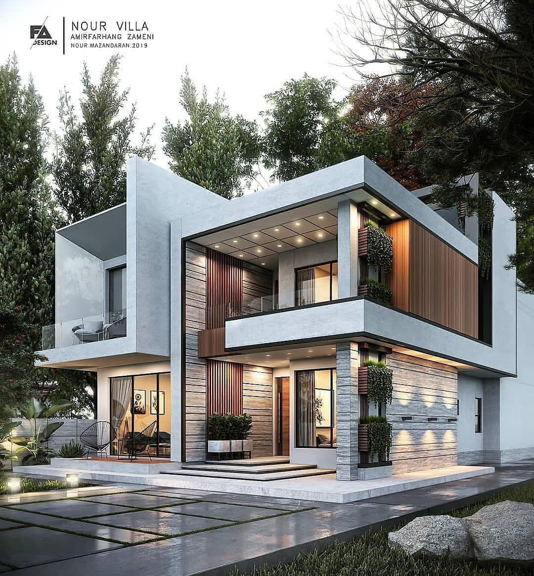 Architecture Visual On Instagram Nour Villa Visualization By Farhang Architect Archvisua Duplex House Design Modern Villa Design House Front Design