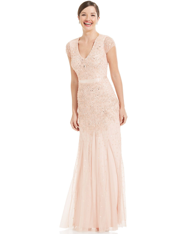 Cap Sleeve Embellished Gown Carols Pink Dresses Pinterest