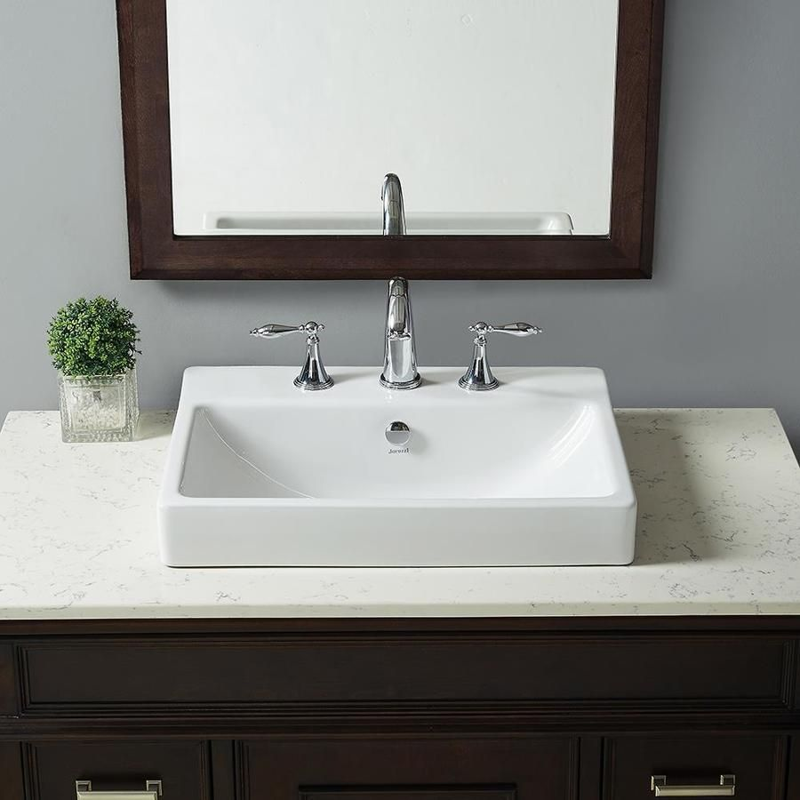 Jacuzzi Anna Farmhouse White Drop-in Rectangular Bathroom Sink with ...