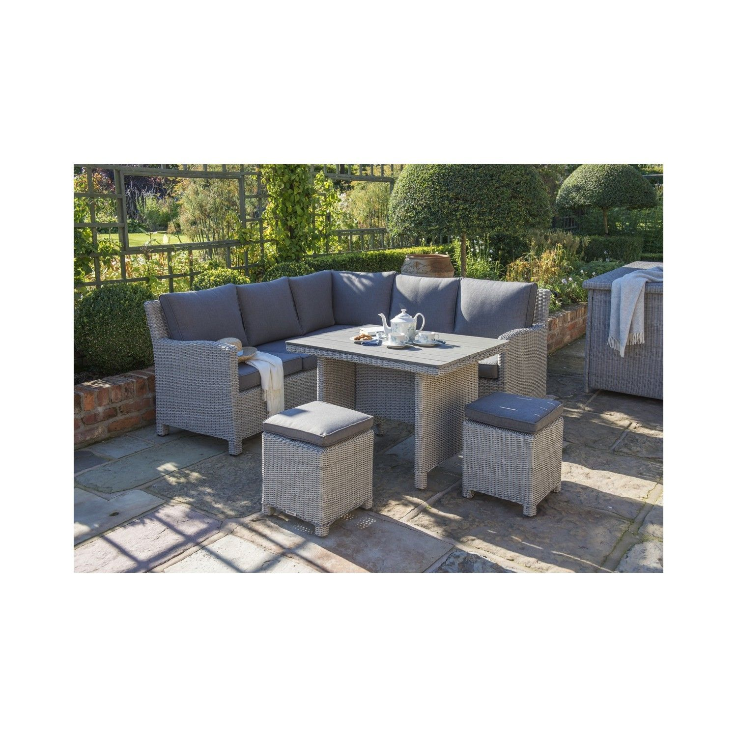 kettler palma mini corner set whitewash garden furniture casual dining - Garden Furniture Kettler