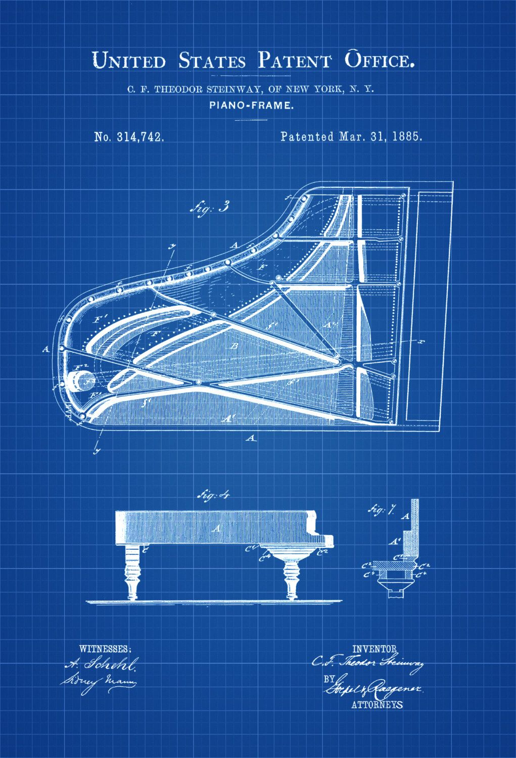 Steinway Piano Frame Patent - Patent Print, Wall Decor, Music Poster ...