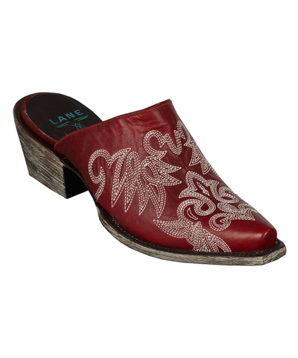 Red leather 'Lanes' mule slippers buy cheap perfect sale best sale K5TQzQ