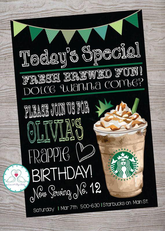 Free Birthday Starbucks ~ Cafe coffee shop inspired birthday party invitation printable digital file design