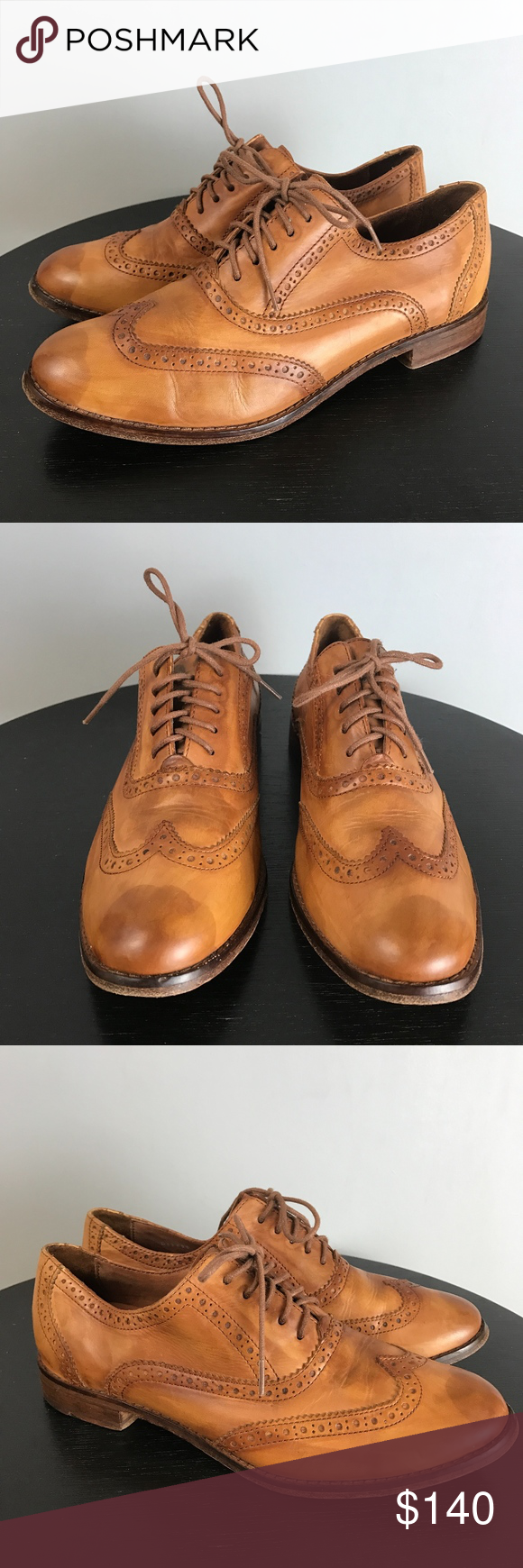 COLE HAAN Antique Leather Oxford Brogues Size: 7B Classic and iconic Cole  Haan. Chic, caramel antiqued leather. Closed Oxford lacing with perforated  Brogue ...