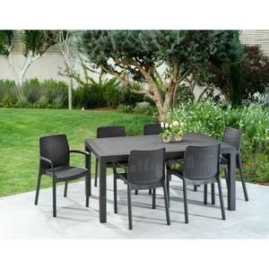 KETER Ensemble Melody table 160cm + 6 fauteuils en résine de ...