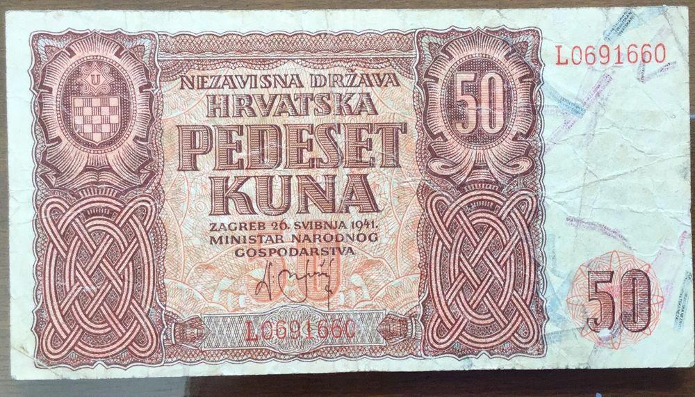 Croatia 50 Kuna 1941 F World Coins Vintage World Maps Croatia