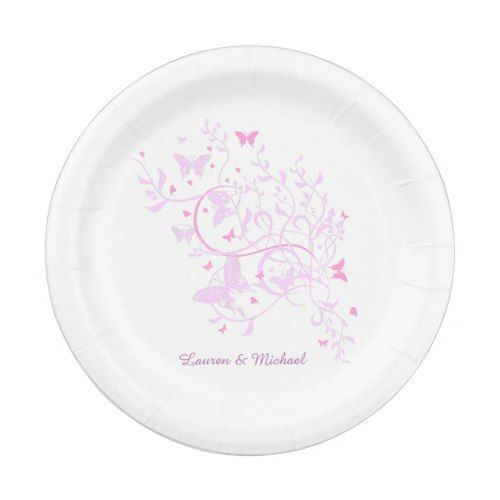Lavender Pink Butterfly Swirl Wedding Paper Plate  sc 1 st  Pinterest & Lavender Pink Butterfly Swirl Wedding Paper Plate | Pink Blush ...