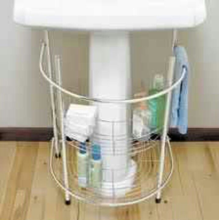 under sink storage for a small bathroom pedestal sink